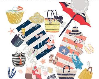 Sandal clipart summer hat Sandals bags swinsuits Etsy Art
