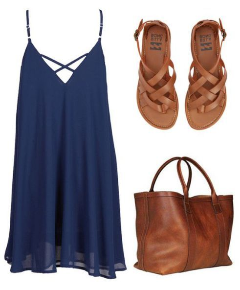 Sandal clipart summer outfit Outfit Blue Brown com Pinterest