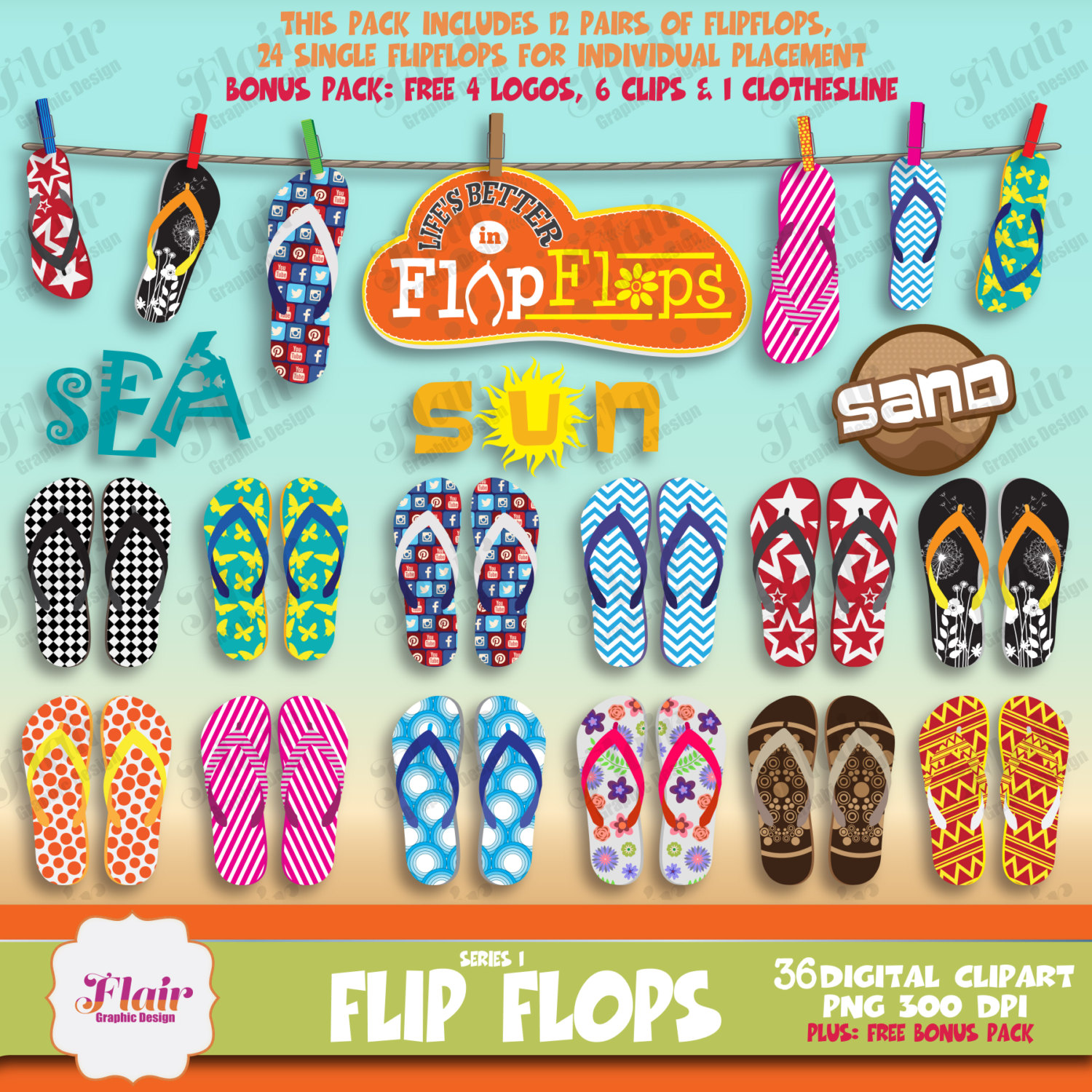 Sandal clipart summer thing Beach a file Flip Series