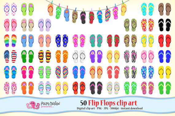 Sandal clipart summer thing Flip Digital flops summer art