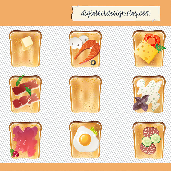 Sandwich clipart food item Digital Sandwich Illustration Breakfast Clipart