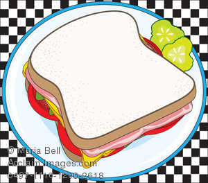 Sandwich clipart plate food Sandwich Side on on