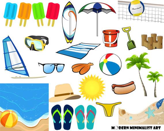Surfboard clipart summer beach Beach Clipart Surfboard Ocean Beach