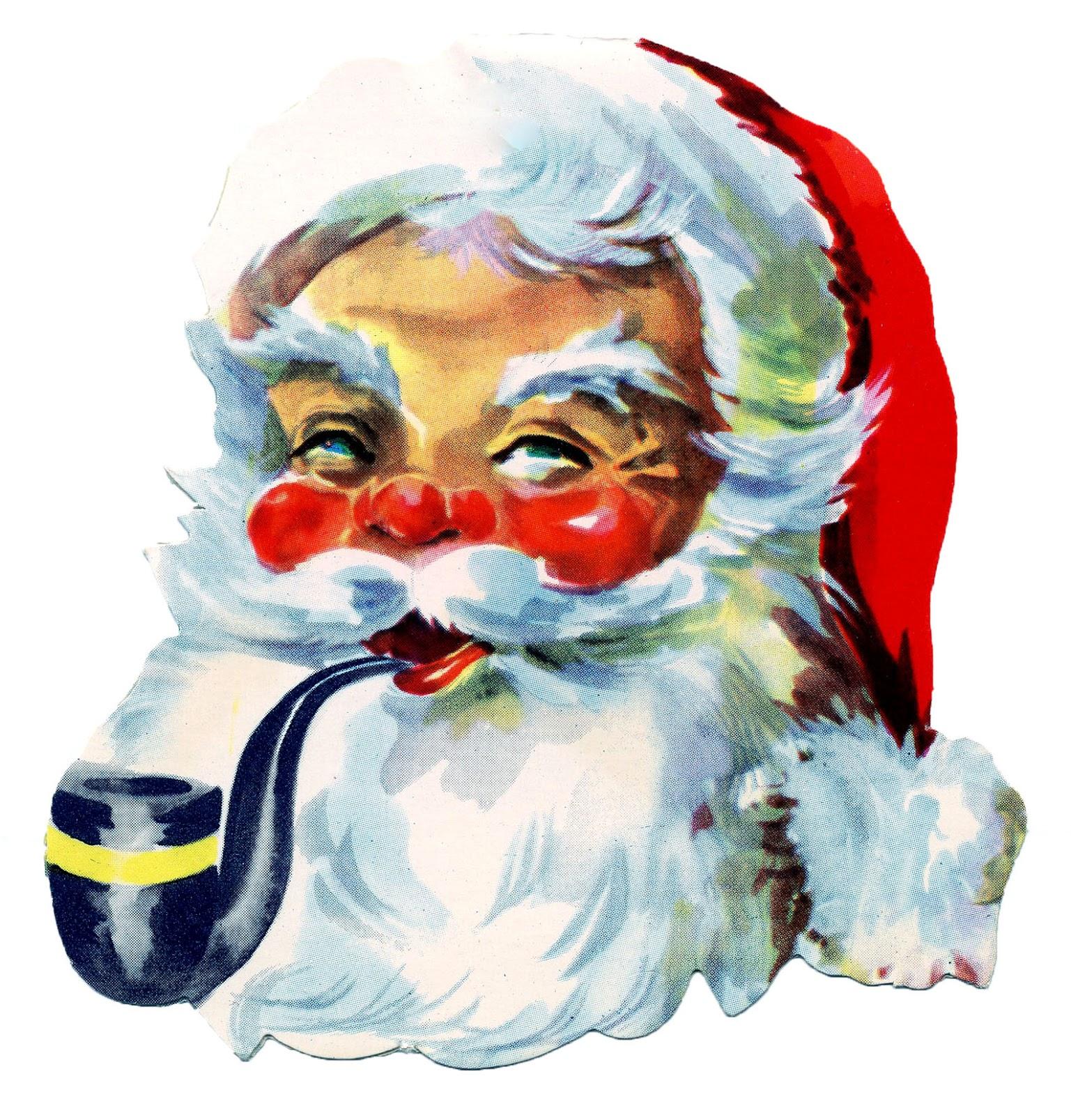 Santa clipart smoking #2