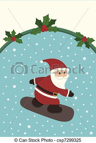 Santa clipart snowboarding #4