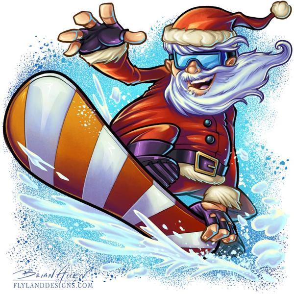 Santa clipart snowboarding #6