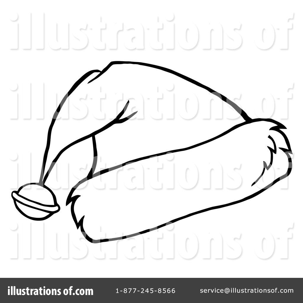 Santa Hat clipart black and white #14