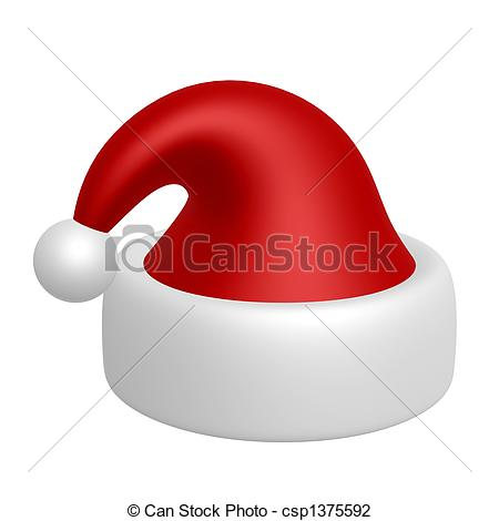Drawn santa hat graphic And on red  white