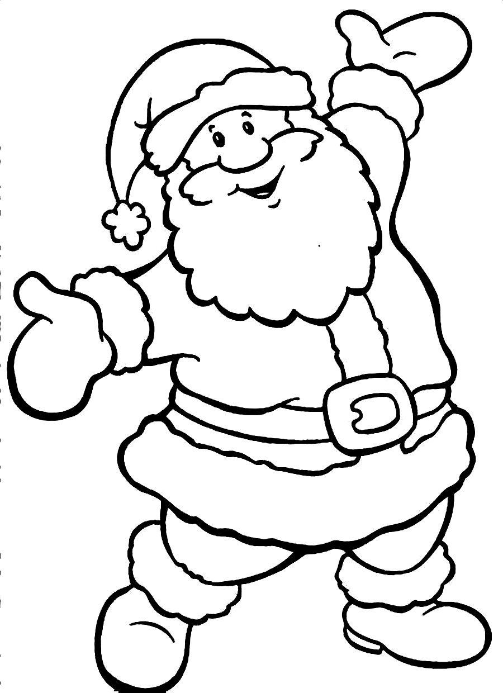 Drawn santa christmas coloring page Outline Santa Claus Clipart Claus