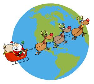 Santa clipart flying #11