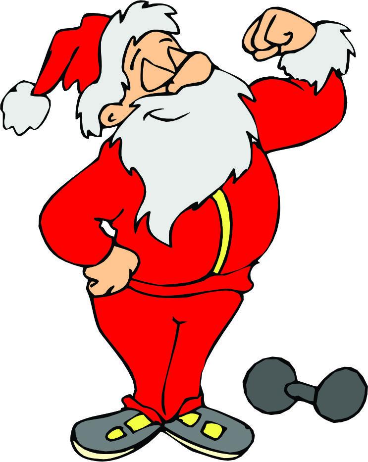 Sanya clipart lifting weight Santa Exercising lifting Santa Cliparts