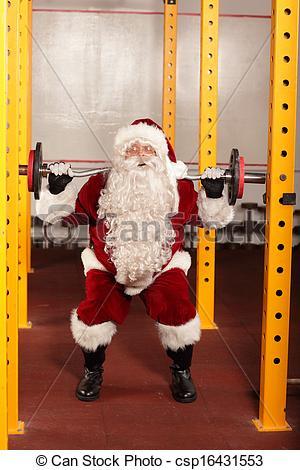 Sanya clipart lifting weight Santa in lifting Stock Claus