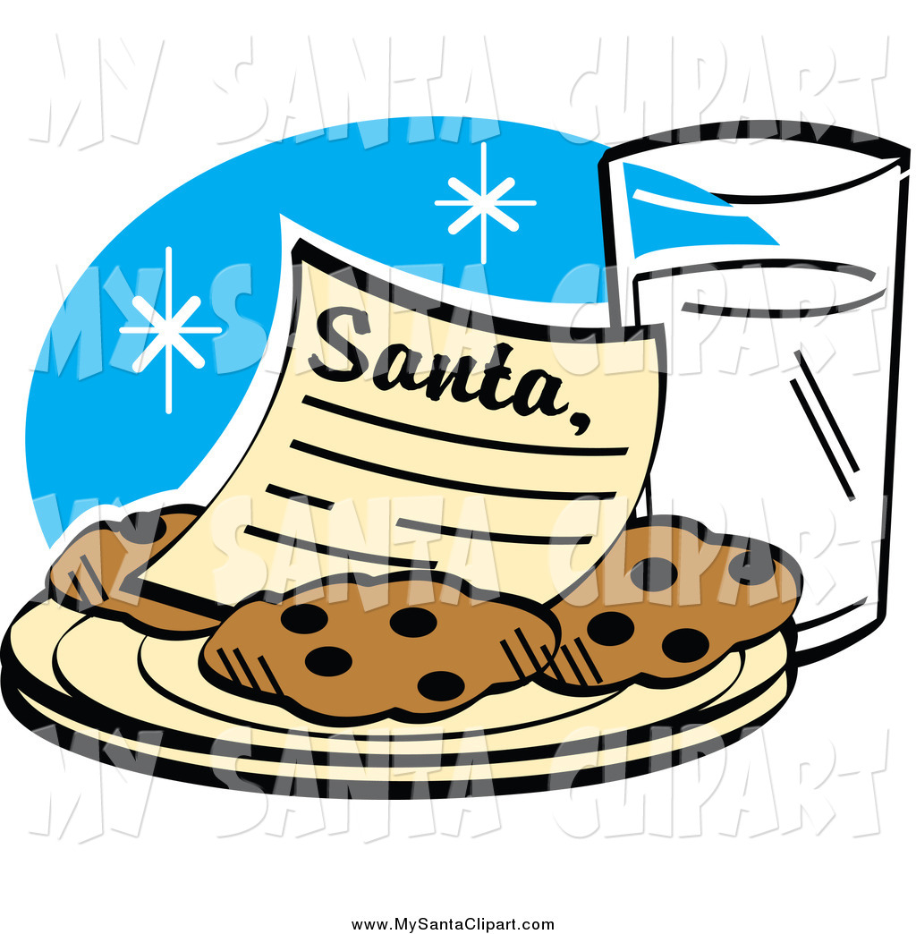 Santa clipart milk and cookie #9
