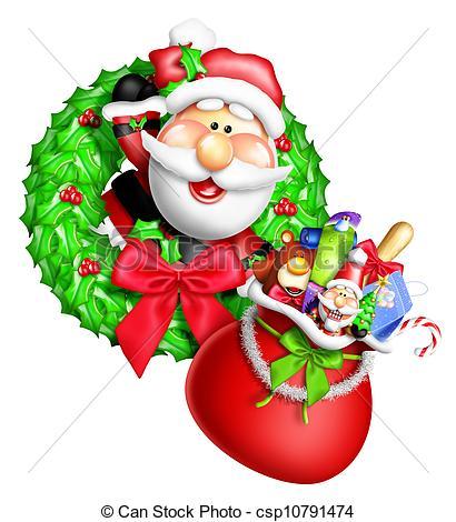 Wreath clipart santa Santa Whimsical Cartoon Stock Illustrations