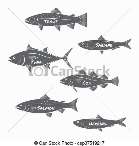 Sardines clipart salmon fish Salmon sardine  Clip Set