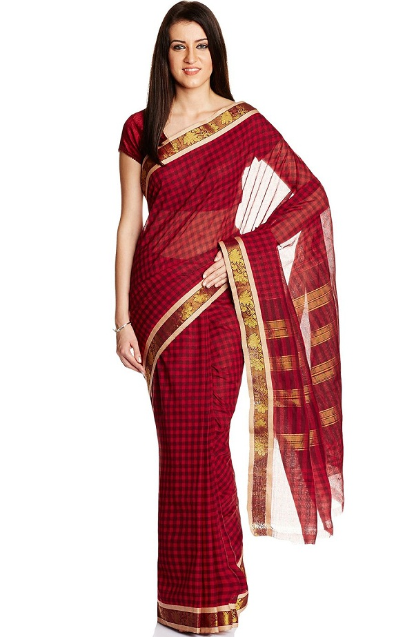 Traditional Costume clipart indian sari Jewellery dresses of cotton maroon