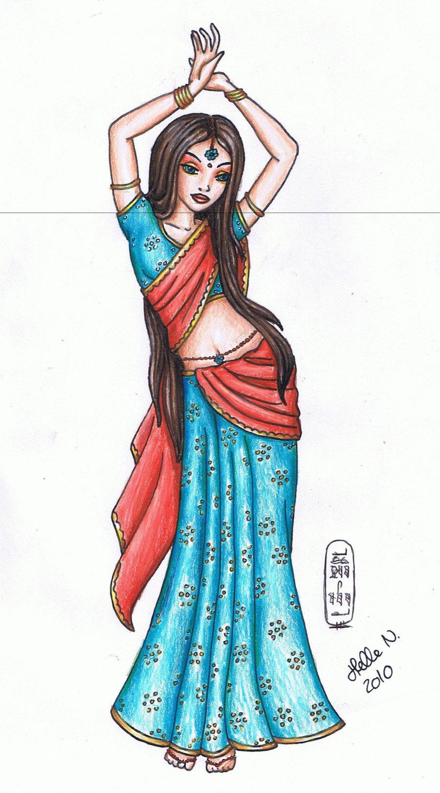 Saree clipart bollywood dancing Indian drawing girl indian an
