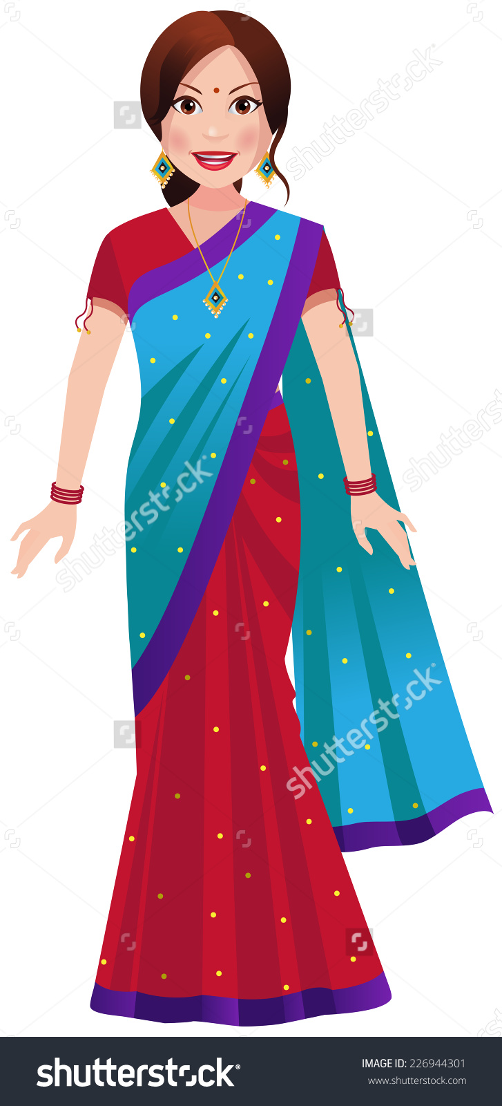 Traditional clipart indian mother Stock woman clipart Half Vector