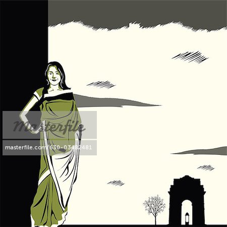 Saree clipart fashion modeling Indian fashion Stock Indian in