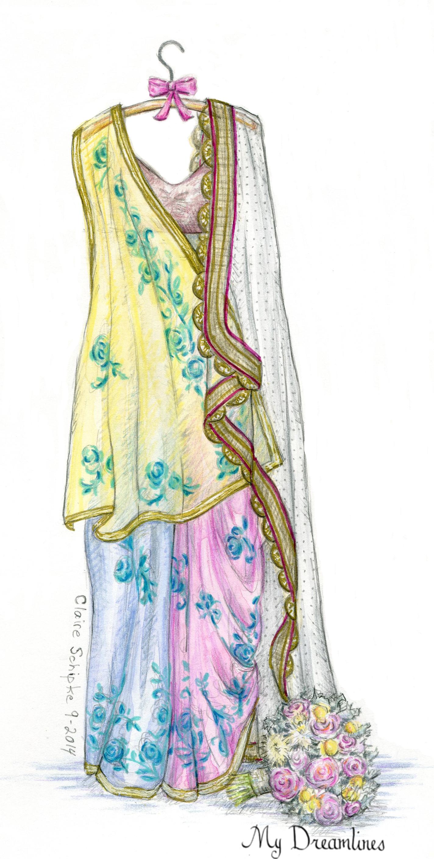 Saree clipart indian bridal Wedding or gift Dress Indian