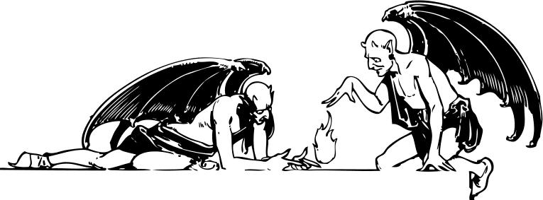 Satanic clipart black and white #10