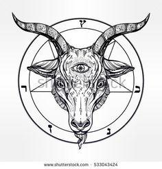 Drawn demon head Symbol tattoo drawn with third
