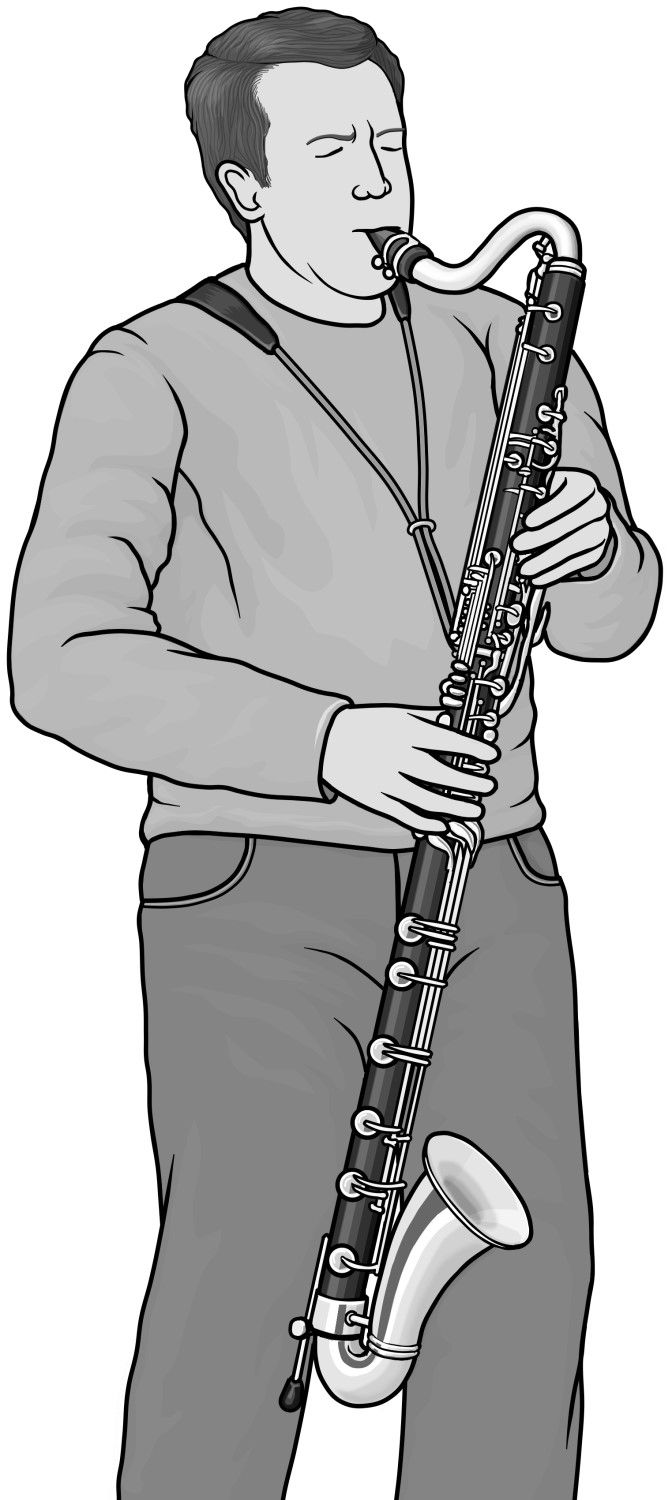 Saxophone clipart bass clarinet Ideas grayscale design Royalty clipart