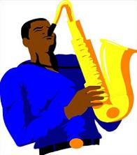 Saxophone clipart blue Free man playing Saxophone saxaphone