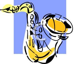 Saxophone clipart blue #7