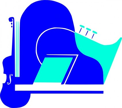 Saxophone clipart blue #4