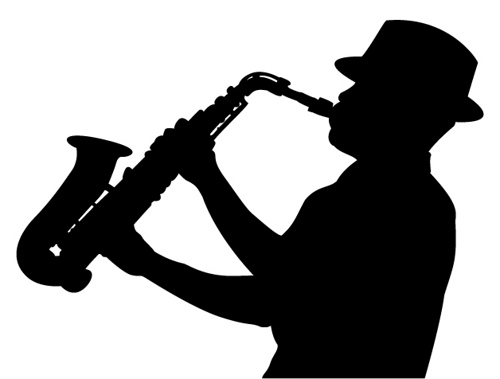 Saxophone clipart saxophone player Via Silhouettes sax by player