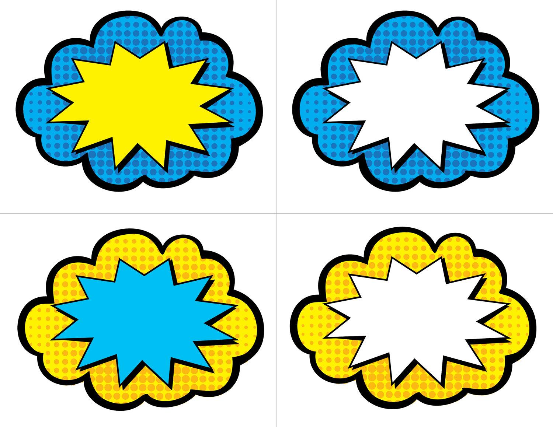 Bubble clipart superhero  50 Cards Blank INSTANT