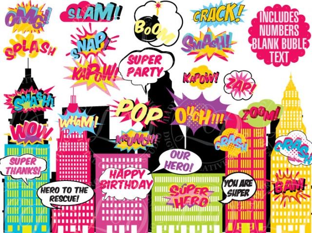 Comic clipart saying Sound Effects Sound Art Words