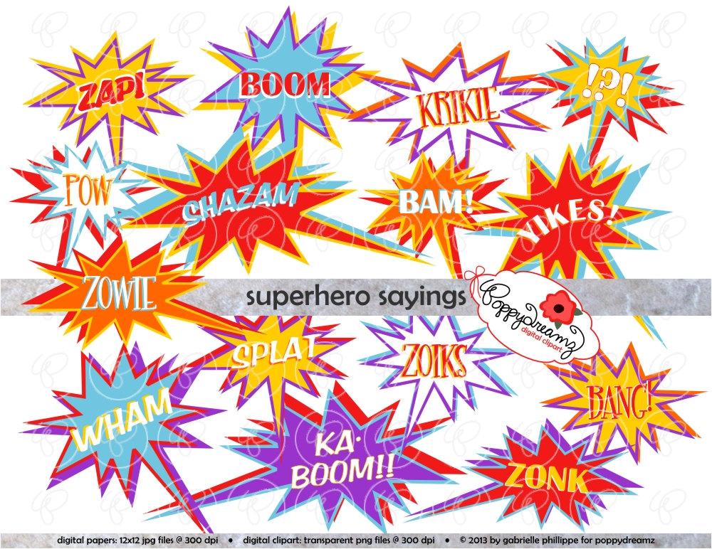 Saying clipart superhero Pack Digital Images dpi Clip