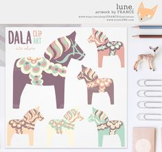 Scandinavia clipart dala horse Color Art  Scandinavian Watercolor