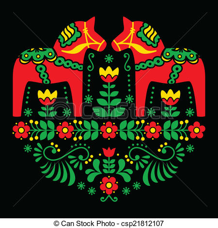 Scandinavia clipart dala horse Vector pattern floral Traditional Clipart