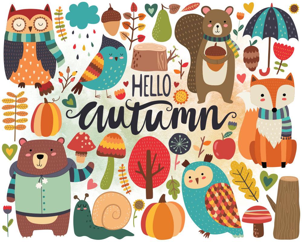 Scarecrow clipart autumn animal Woodland Woodland Autumn Clipart Cute