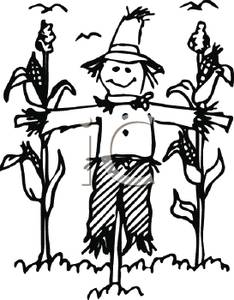 Scarecrow clipart black and white Crop Black White and a