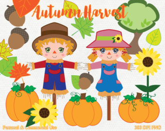 Scarecrow clipart female Digital Scarecrow AUTUMN Etsy Leaves