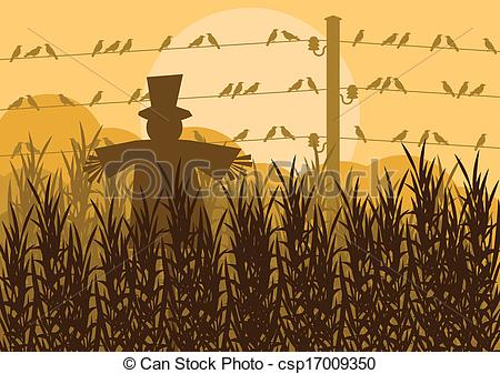 Countyside clipart fields Background Scarecrow corn csp17009350 illustration