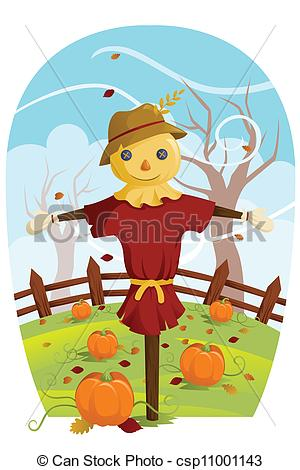Scarecrow clipart harvest Vector  for of Fall