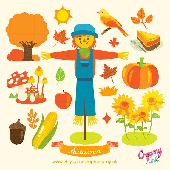 Scarecrow clipart harvest / Fall Autumn Illustration Vector