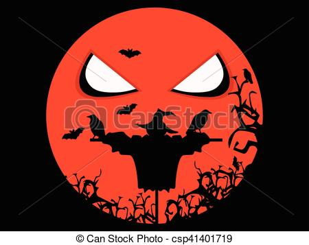 Scarecrow clipart mouth Vector scary scary and bats