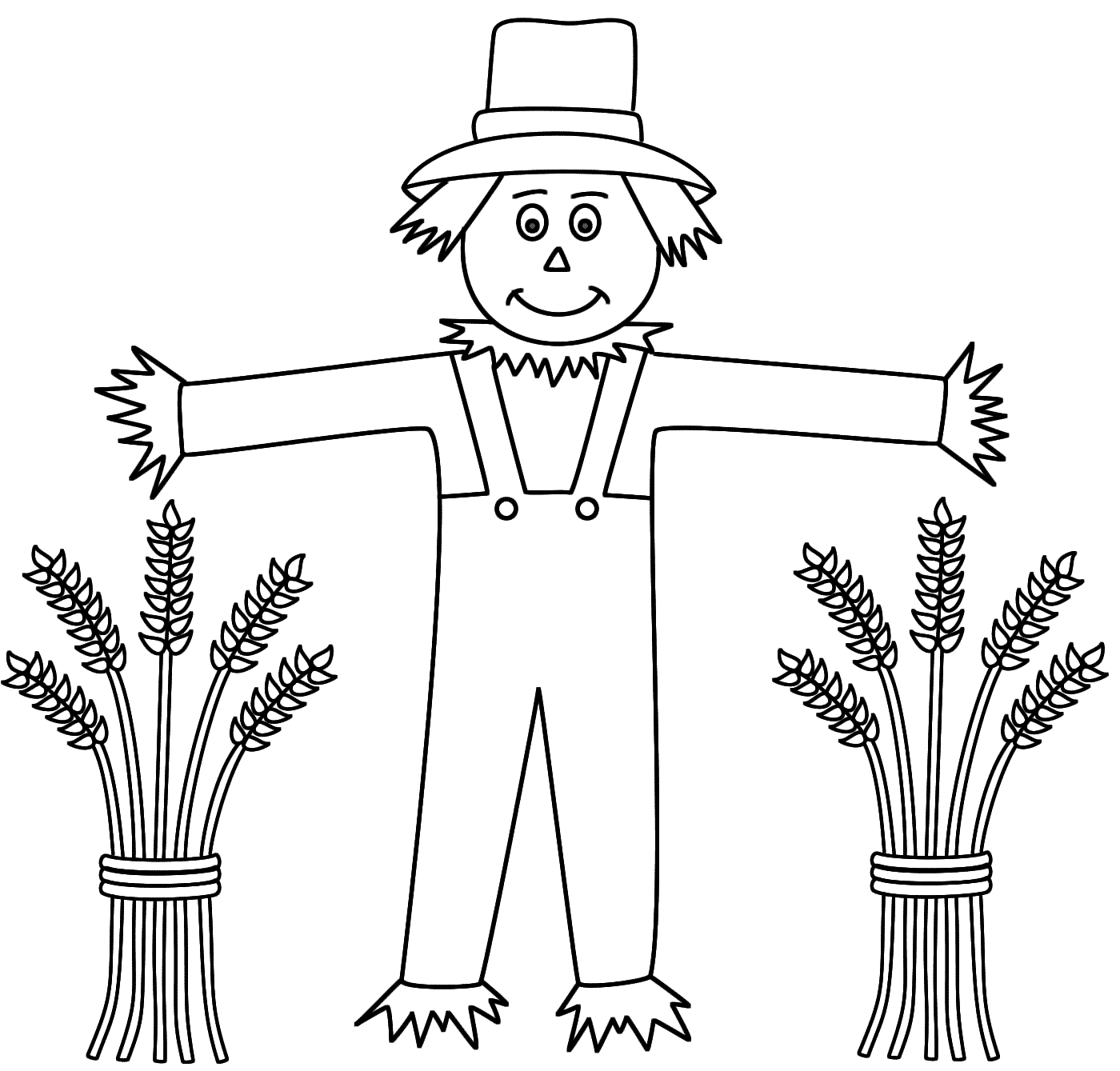 Scarecrow clipart outline Coloring Scarecrow sheaves coloring wheat