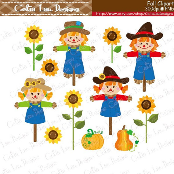 Scarecrow clipart paper Digital Harvest  file is