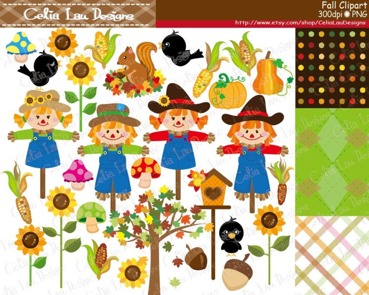 Scarecrow clipart paper Clipart set Fall Autumn Fall