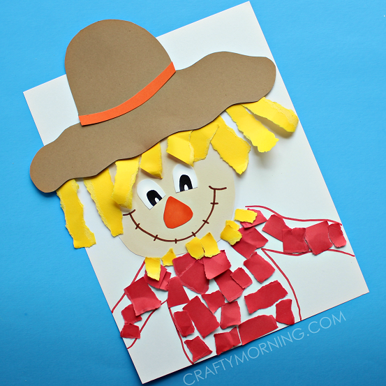 Scarecrow clipart paper Fall Kids craft paper scarecrow