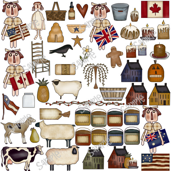 Country clipart primitive Free Collection Scarecrows  primitive