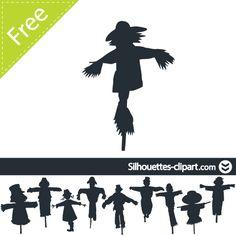 Scarecrow clipart silhouette Silhouettes Adorable vector Halloween Scarecrow