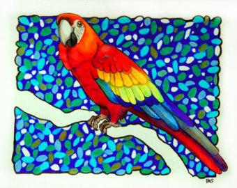 Scarlet Macaw clipart tropical bird #11